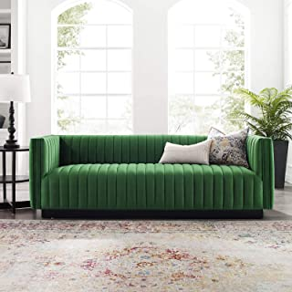 Modway Conjure Channel Tufted Upholstered Performance Velvet Sofa in Emerald