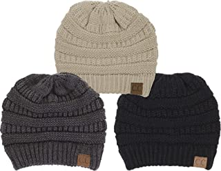 Solid Ribbed Beanie Slouchy Soft Stretch Cable Knit Warm Skull Cap