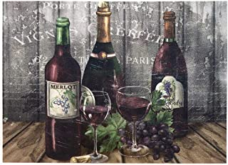 Morgan Home / Blissful Living Set of 4 Placemats, Red Wine Paris Stamp