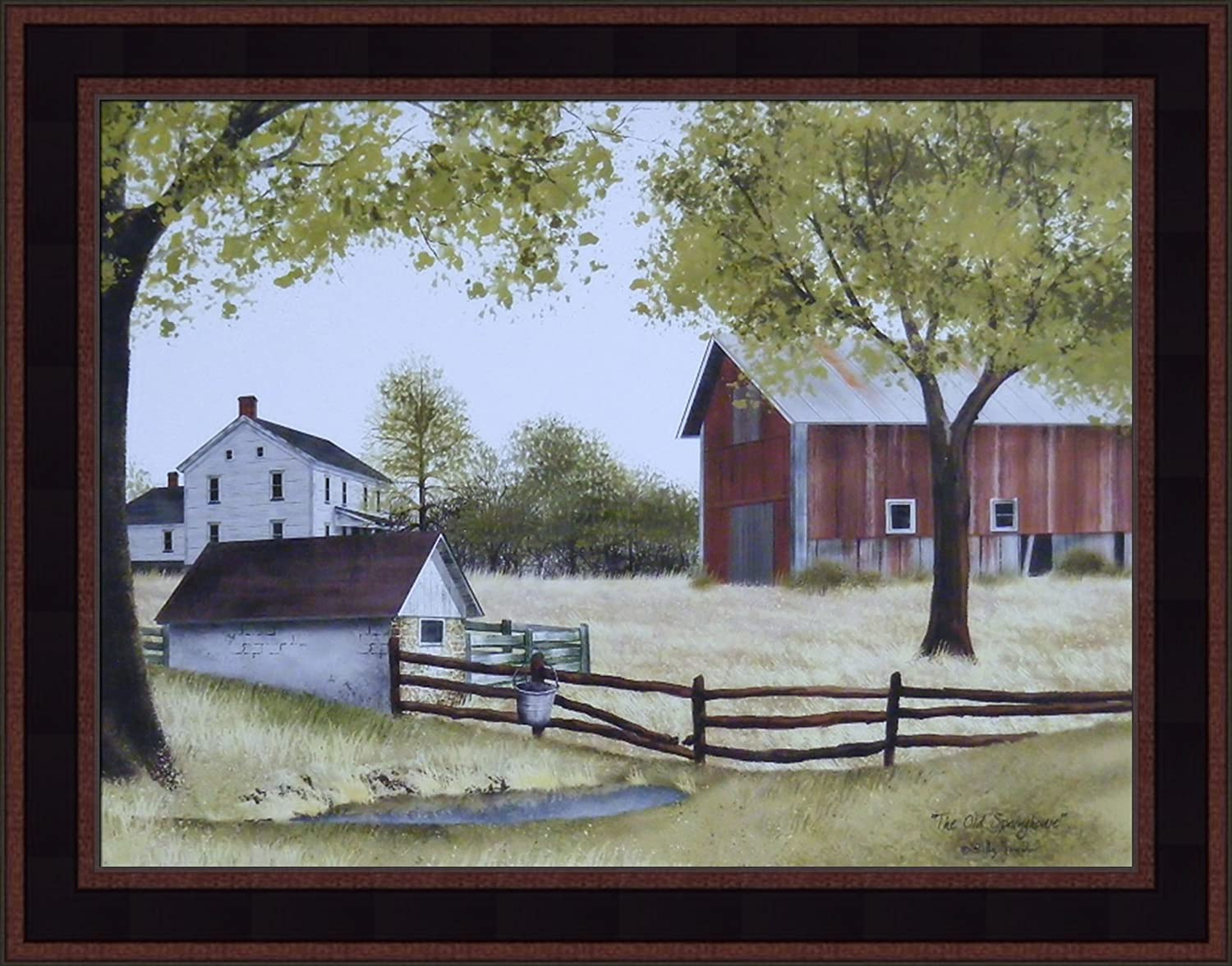 New Primitive Billy Jacobs APPLE HARVEST Barn Orchard Wall Hanging Picture