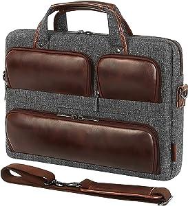 DOMISO 17 Inch Laptop Shoulder Bag, Messenger Briefcase Multifunction Carrying Handbag for 17.3