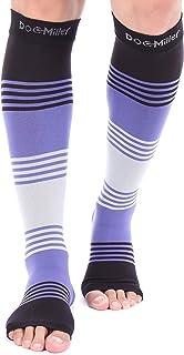 Doc Miller Premium Open Toe Compression Sleeve Dress Series 1 Pair 20-30mmHg Strong Support Graduated Sock Pressure Sports Running Recovery Shin Splints Varicose Veins (BlackPurpleGray, Large)
