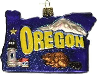 Old World Christmas Glass Blown Ornament State of Oregon (36200)