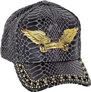 Curve Bill Snap Back Hat With Aurum and Black Dimond SW Black Spikes One Size Charcoal