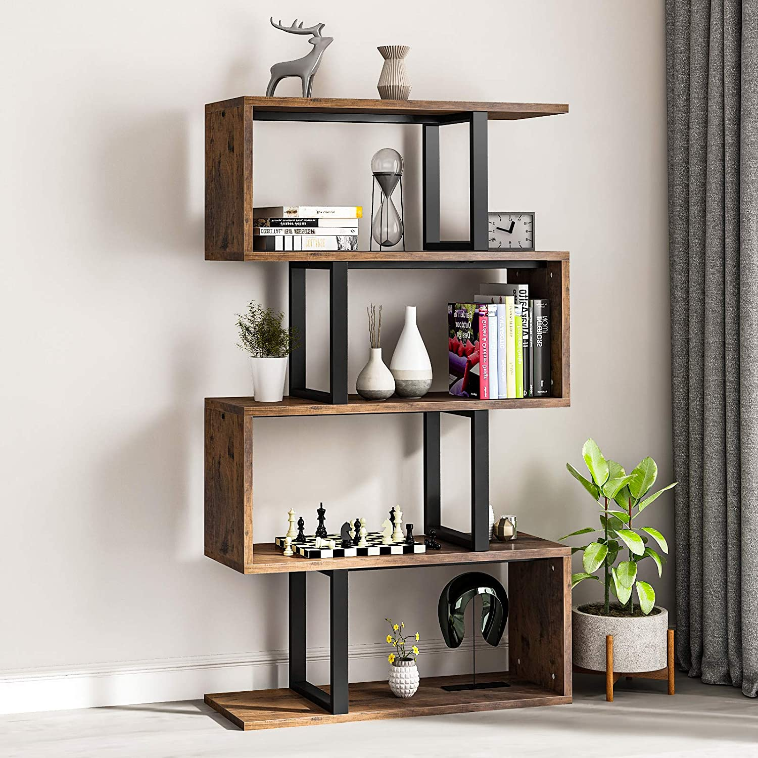 YITAHOME 5-Tier Bookshelf, S-Shaped Z-Shelf Bookshelves and Bookcase, Industrial Freestanding Multifunctional Decorative Storage Shelving for Living Room Home Office, Retro Brown