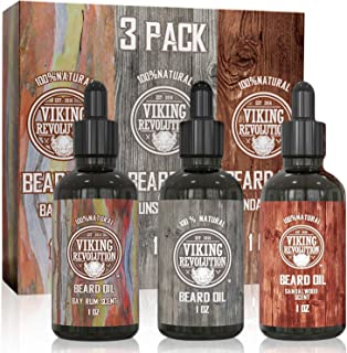Beard Oil Conditioner 3 Pack (Variety 2 3Pack Mix Bay Rum, Unscented, and Sandalwood Oil