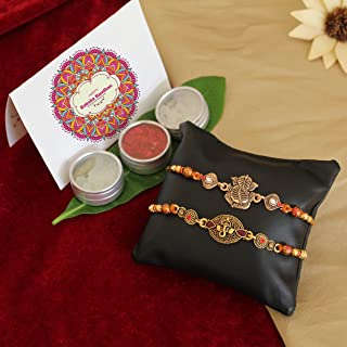 TIED RIBBONS Rakhi for Brother with Gift - Festival Rakshabandhan Gifts for Brothers (Set of 2 Rakhi with Wishes Card)