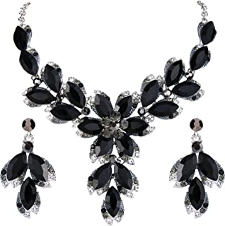 Clearine Women's Wedding Bridal Crystal Marquise Leaf Petal Flower Statement Necklace Dangle Earrings Set