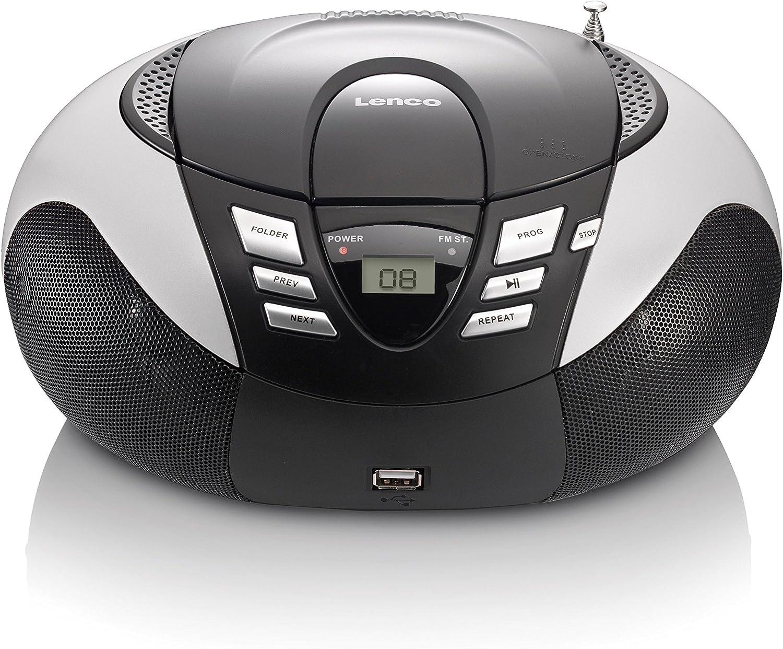 Lenco SCD-37 USB – Radio Am/FM Portátil con Reproductor de CD/MP3 (Antena Telescópica, USB), Plata