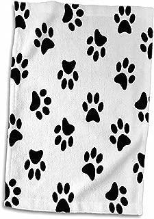 3D Rose Paw Print Pattern - Black Pawprints On White - Cute Cartoon Animal Eg Dog Or Cat Footprints Towel, 15