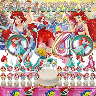 The Little Mermaid 4th Party Decorations   Ariel   Supplies   Fourth   Four   Banner   4   Balloons   For Girl   Backdrop...