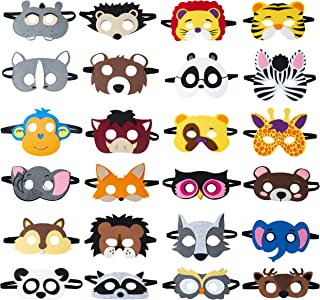 TEEHOME Animal Felt Masks Party Favors (24 Packs) for Kid - Safari Party Supplies with 24 Different Types - Great Idea for Petting Zoo | Farmhouse | Jungle Safari Theme Birthday Party