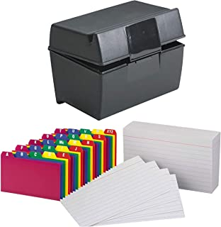Plastic Index Card Holder, Flip Top File Box Holds 300 3 x 5 Cards, Matte Black, with Poly Card Guides, A-Z, 3 x 5 -Inch, ...