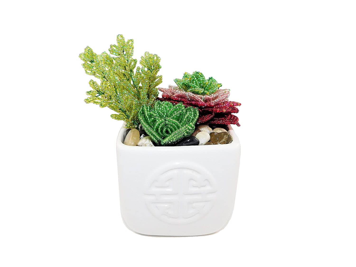 5.5 Inch Handmade Beaded Mixed Ceramic Artifi Pot. Quantity limited Financial sales sale Succulents in