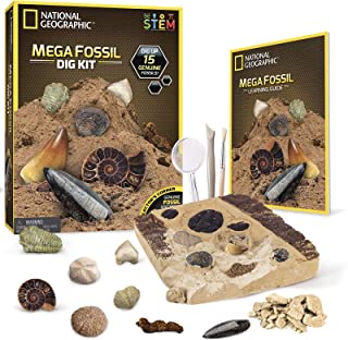 NATIONAL GEOGRAPHIC Mega Fossil Dig Kit – Excavate 15 Real Fossils Including Dinosaur Bones & Shark Teeth, Educational Toy...