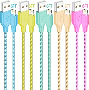 iPhone Lightning Cable, IDISON 5Colors [5-Pack 6FT], Premium Fast USB Charging Cord, Apple MFi Certified for iPhone Charger, iPhone SE/Xs/XS Max/XR/X/8 Plus/7/6 Plus,iPad Pro Air2,and More (Y/B/G/O/G)
