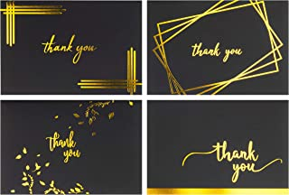 Thank You Cards Bulk - 100 Blank Variety Thank You Notes with Envelopes and Stickers - for Business, Baby and Bridal Shower, Wedding, Birthday - 4x6 Photo Size Greeting Card, Matte Black and Gold Foil