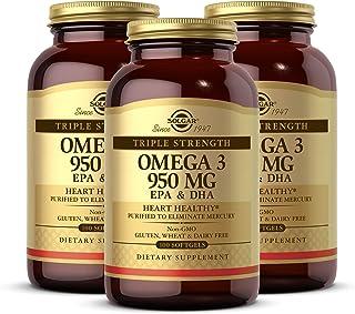 Solgar Triple Strength Omega-3 950 mg, 100 Softgels - 3 Pack - Supports Cardiovascular, Joint, Skin & Heart Health - Essen...