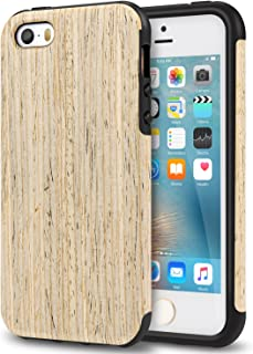 TENDLIN iPhone SE Case Wood Veneer Flexible TPU Silicone Hybrid Good Protection Case for iPhone SE and iPhone 5S 5 (Nordic Walnut Wood)