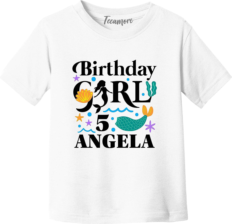 Personalized Birthday Girl Shirt Mermaid Graphic Print Toddler Girl T-Shirt Gift