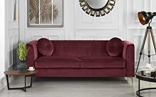 Classic and Traditional Living Room Marilyn Velvet Sofa with Tufted Accent Pillows (Red)