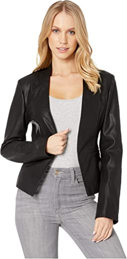 Vegan Leather Open Blazer in Mean Streets