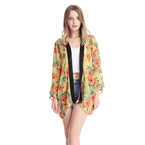 934c7b8a76 DiaryLook Women's Light Floral Print Chiffon Kimono Cover-ups Tops Cardigan