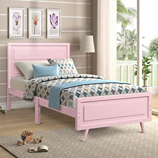 Twin Size Bed Frame Wood Platform Bed with Headboard and Slat Support, No Box-Spring Needed, Pink