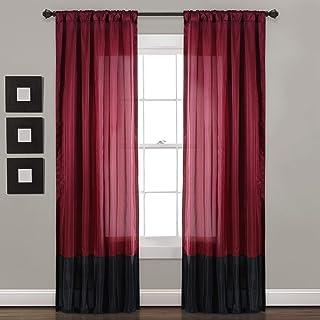 "Lush Decor Milione Fiori Window Curtains Panel Set for Living, Dining Room, Bedroom (Pair), 84"" x 42"", Red/Black"