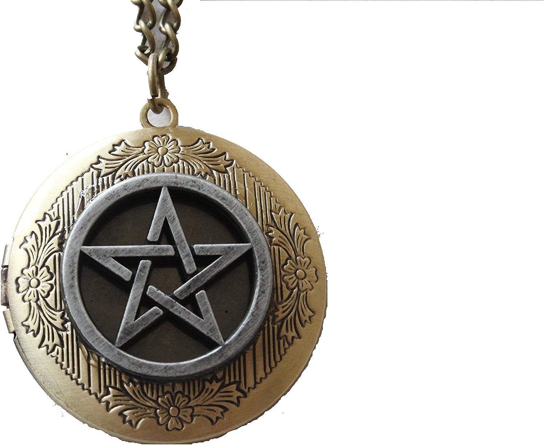 Charming Antique Bronze Supernatural Magic Pentagram Locket Necklace Jewelry