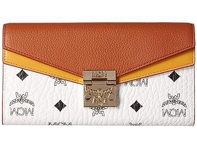MCM Patricia Visetos Leather Block Flap Wallet/Two-Fold Large (White/Cognac) Handbags