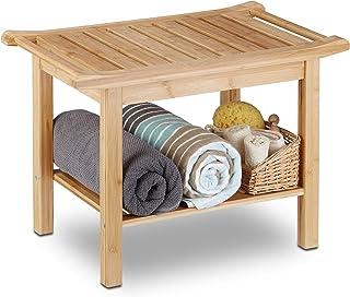 Relaxdays, 45 x 66 x 40 cm Taburete Baño con Balda, Bambú, Marrón Natural, Naturaleza