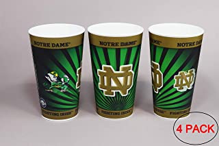 University of Notre Dame Fighting Irish Plastic Cup Holographic 22oz - (Pack of 4) Tailgating Tumbler Cups | Dishwasher Safe | BPA Free