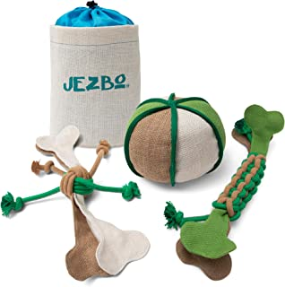 JEZBO All-Natural Dog Chew Toys, 100% Hemp, Set of 3 - Puppy and Doggie Ropes and Balls for Teething and Chewing - Durable, Eco-Friendly, Safe Pet Supplies - Unique, Fun, Play Toys for Puppies