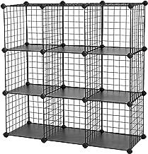 "SONGMICS Metal Wire Cube Storage,9-Cube Shelves Organizer,Stackable Storage Bins, Modular Bookcase, DIY Closet Cabinet Shelf, 36.6""L x 12.2""W x 36.6""H, Black"
