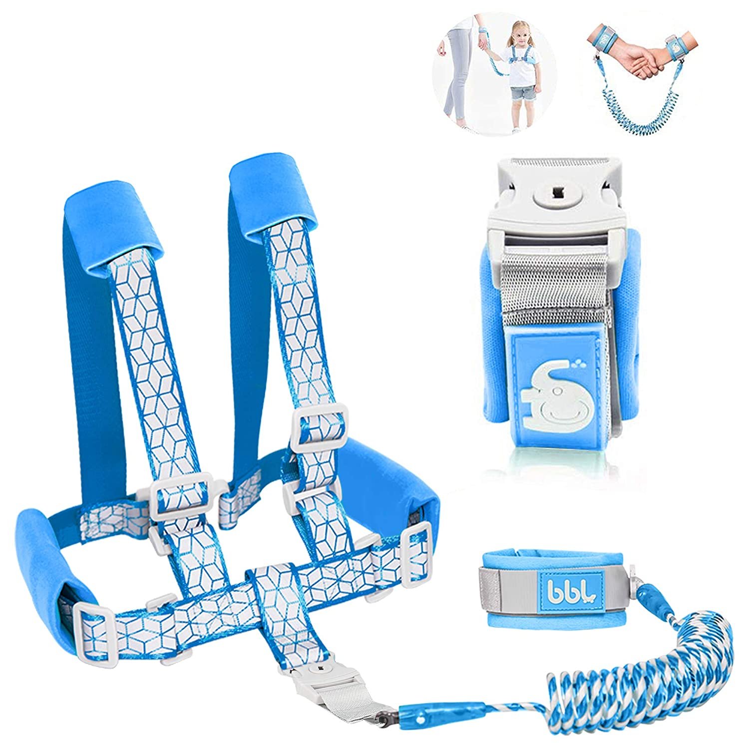 2 in 1 Toddler Leash -Anti Lost Wrist Link for Toddlers -Toddler Harness,Baby Leash,Leash for Toddlers,Wrist Leashes,Child Leashes for Toddlers,Not Easy to Open Without Key
