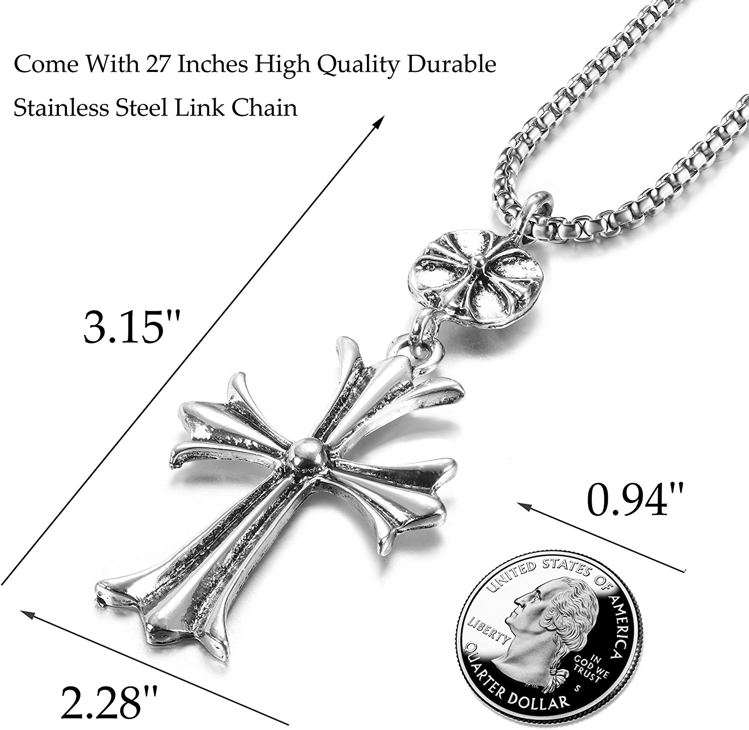 FIBO STEEL Vintage Cross Pendant Necklaces Punk Accent Shield Ring Ankh Cross Necklace for Men Women Stainless Steel Rolo Chain Mens Crucifix Necklace Jewelry Gift