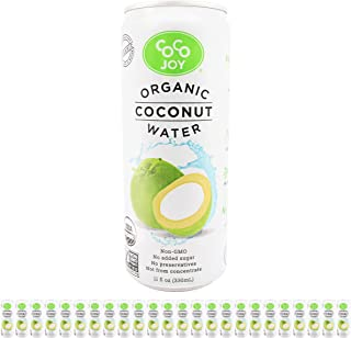 100% Organic Coco Joy Premium Coconut Water 11 Fl oz Can - 24 Pack Refreshing, Non-GMO, No Added Sugar, Packed with Electrolytes, No Preservatives