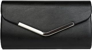 styleBREAKER Clutch Abendtasche im Envelope Kuvert Design mit Zierleiste aus Metall und Abnehmbarer Kette zum umhängen, Da...