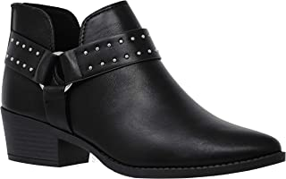 MVE Shoes Women's Cute Western Cowboy Bootie -Back Zipper up Low Heel Shoes, Margin Black PU 6
