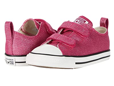Converse Kids Chuck Taylor All Star 2V Summer Sparkle Ox (Infant/Toddler) (Cerise Pink/Natural Ivory/Vintage White) Girl