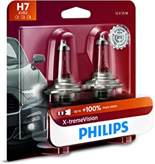 Philips H7 X-tremeVision Upgrade Headlight Bulb with up to 100% More Vision, 2 Pack