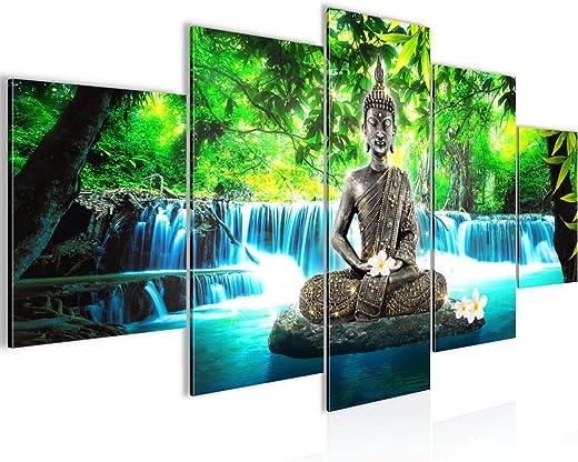 Buddha Wasserfall Bild Vlies Leinwandbild 5 Teilig Natur Blau Grün Schlafzimmer Flur 503553b