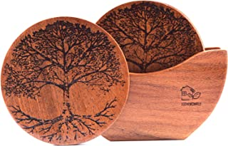 Wood Coasters | Handmade Wood Drink Coasters with Holder Set of 6 Pieces | 100% Natural Wooden Coasters for Drinks Absorbe...