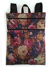 Mochila mujer tela de paño estampado flores, mochila plana con cremalleras
