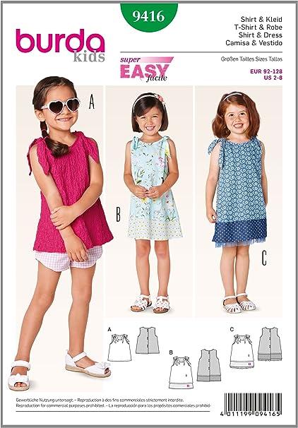 Burda Patrón 9416 Kids Vestido y Camiseta para niña