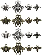 Bee Charms -100g (about 80-85pcs) Craft Supplies Honeybee Charms Pendants for Crafting, Jewelry Findings Making Accessory For DIY Necklace Bracelet M8 (Bee Collection)