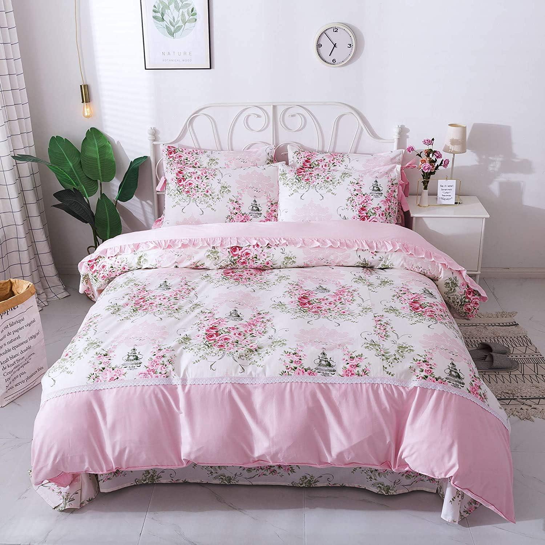 FADFAY Rosette Floral Duvet Cover Sweet Pink Girls Bedding Set 100% Cotton Hypoallergenic Bed Sheets Set,7Pcs