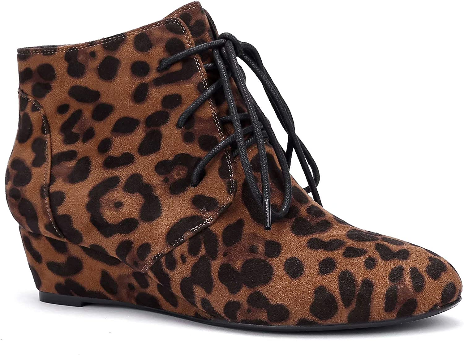 Greatonu Dallas online shopping Mall Womens Lace Up Low Wedge Ankle Heel Booties