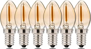 FLSNT C7 LED Night Light Bulbs 15W Equivalent,Dimmable,0.8W,E12 Candelabra Base,2200K Warm White,CRI80,45LM, Amber Glass Finishing,6 Pack